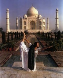 Founder Peri Ness DeFay, disciple of Paramahansa Yogananda, at the Taj Mahal, Agra, India, 1992